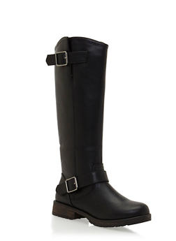 Faux Leather Knee High Boots with Side Buckle Cinches - 3116065487625