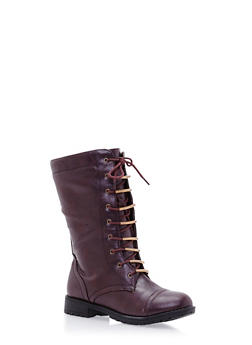 Mid Calf Lace Up Boot - 3116073498040