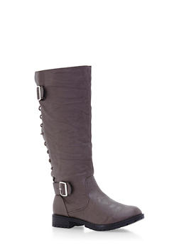 Mid Calf Boots with Lace Up Back and Buckle Cinches - 3116073498055