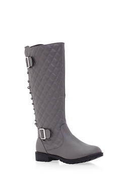 Quilted Mid Calf Boots with Lace Up Back - 3116073498057