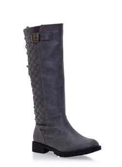 Quilted Lace Up Knee High Boots with Buckle - 3116073498059