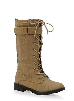 Lace Up Boots with Buckle Strap - 3116073498068