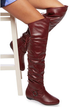 Faux Leather Over The Knee Boots with Lace Up Back - 3116073498110