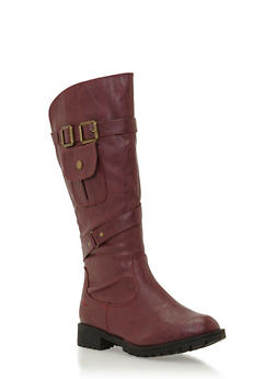 Double Buckle Knee High Boots with Pocket Detail - 3116073498129
