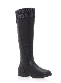 Knee High Boots with Knit Cuffs and Zip Accents - 3116073498147