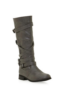 Multi Strap Zip Up Knee High Boots - 3116073498158