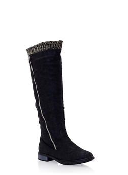 Over the Knee Boots with Knit Trim - 3116073498159