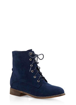 Faux Suede Ankle Boots - 3116073541657