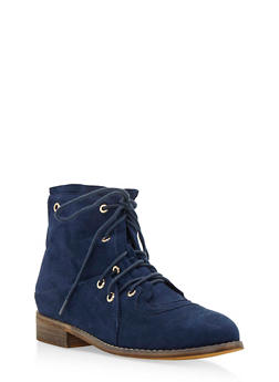 Double Lace Up Brushed Faux Suede Ankle Boots - 3116073541752