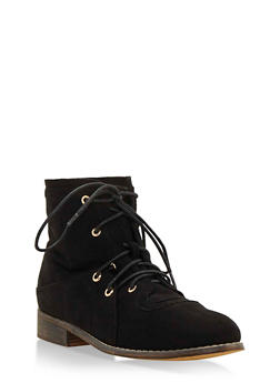 Double Lace Up Brushed Faux Suede Ankle Boots - BLACK F/S - 3116073541752