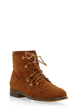 Double Lace Up Brushed Faux Suede Ankle Boots - CHESTNUT - 3116073541752