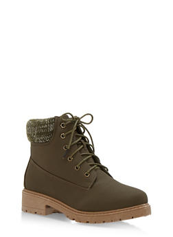 Work Boots with Padded Collar - OLIVE NUBUCK - 3116073541761