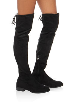 Tie Back Over the Knee Flat Boots - BLACK F/S - 3116073541770