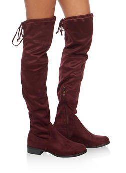 Tie Back Over the Knee Flat Boots - BURGUNDY F/S - 3116073541770