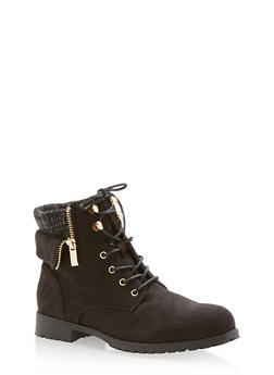 Lace Up Faux Suede Sweater Top Boots - 3116073541771