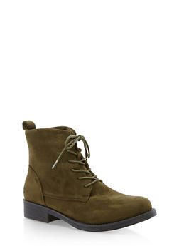 Faux Suede Lace Up Ankle Booties - OLIVE F/S - 3116073541780