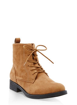 Faux Suede Lace Up Ankle Booties - COGNAC F/S - 3116073541780
