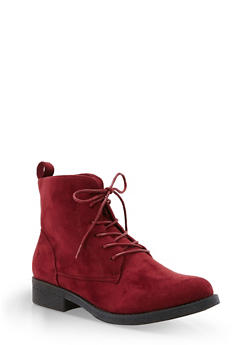 Faux Suede Lace Up Ankle Booties - BURGUNDY F/S - 3116073541780
