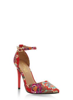 Floral Embroidered Ankle Strap Pumps - 3118004063386