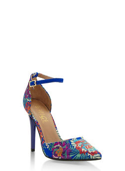 Floral Embroidered Ankle Strap Pumps - BLUE FABRIC - 3118004063386