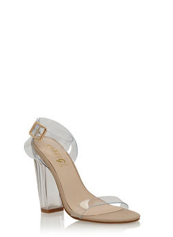 Clear Chunky Heeled Sandals - 3118004064975