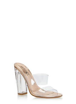 Clear Double Strap Chunky Heeled Slides - 3118004064976