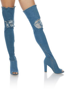 Ripped Thigh High Peep Toe Denim Boots - 3118004065462