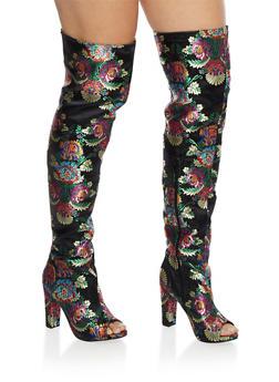 Printed Satin Thigh High Boots - 3118004065465