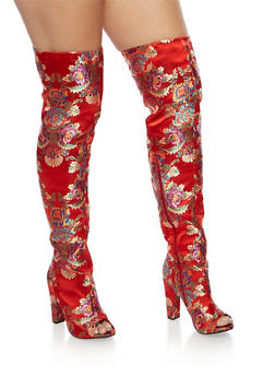 Printed Satin Thigh High Boots - 3118004065465