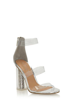 Clear Strap Glitter Chunky High Heels - SILVER PATENT - 3118004066882