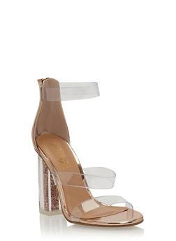 Clear Strap Glitter Chunky High Heels - 3118004066882