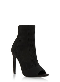 Perforated Knit Open Toe Booties - BLACK KNIT - 3118004067692