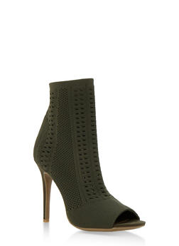 Perforated Knit Open Toe Booties - 3118004067692