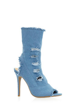 Distressed High Heel Peep Toe Booties - 3118004067693