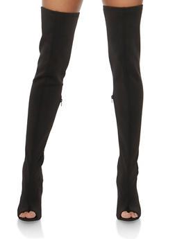 Thigh High Open Heel Boots - BLACK LYC - 3118004067866