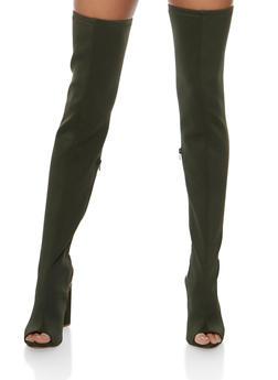 Thigh High Open Heel Boots - 3118004067866