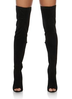 Thigh High Open Heel Boots - BLACK SFS - 3118004067866
