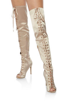 Satin Lace Up Thigh High Boots - 3118004068786