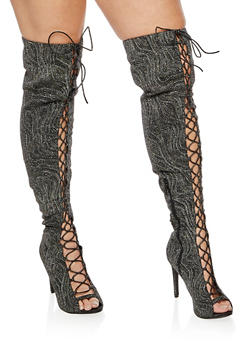 Lace Up Peep Toe Over the Knee Boots - 3118004068789