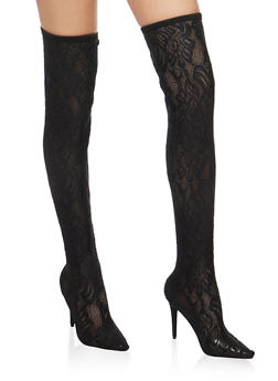 Over the Knee Pull On Lace Boots - 3118014063333