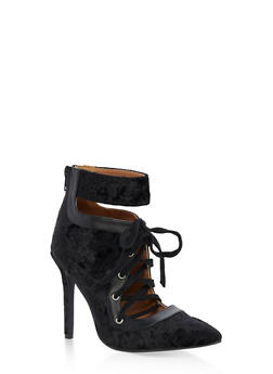 Pointy Lace Up Ankle Strap Velvet Heels - BLACK CRUSHED VELVET - 3118029916454