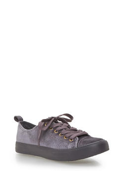 Velvet Lace Up Sneakers - GRAY - 3118062720220