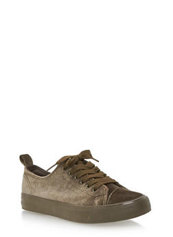 Velvet Lace Up Sneakers - OLIVE - 3118062720220