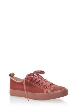 Velvet Lace Up Sneakers - MAUVE - 3118062720220