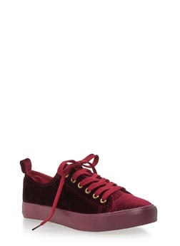 Velvet Lace Up Sneakers - BURGUNDY - 3118062720220