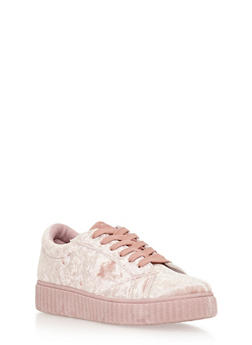 Lace Up Crushed Velvet Creeper Sneakers - 3118062726548