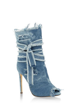 Denim Peep Toe High Heel Booties - 3118065462273