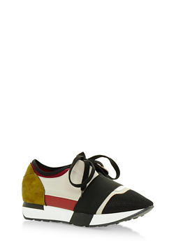 Multi Textured Lace Up Sneakers with Elastic Strap - BLACK MULTI - 3118068265345