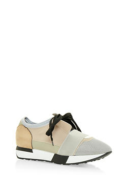 Multi Textured Lace Up Sneakers with Elastic Strap - 3118068265345