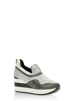 Multi Textured Striped Platform Sneakers - 3118068265384